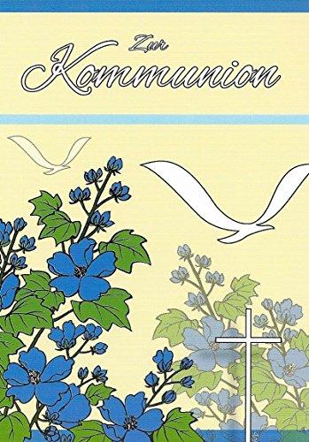 Uitnodigingskaarten, communie, jongens, meisjes, met tekst binnenin, bloemen, vogels, vouwkaarten, DIN A6, staand formaat met witte enveloppen, uitnodiging, communie, meisjes, communiekaarten met enveloppen, K31 (niet beschikbaar in het Nederlands) 14,8cm x 10,5cm multicolor