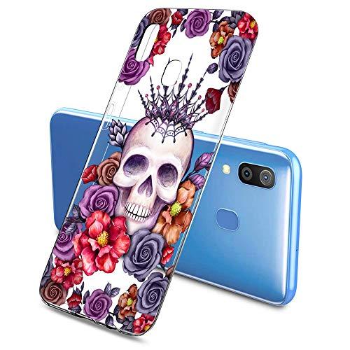 Oihxse Clair Crystal Soft Silicone Compatible pour Samsung Galaxy S6 Coque Transparente TPU Crâne Rose Motif Design Housse Ultra Mince Protection Antichoc Etui(E7)