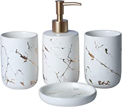 EPFamily Creative Golden White Marble Bathroom Accessories Set,4 Pieces Include Soap Dispenser,2 Tumblers,Soap Dish