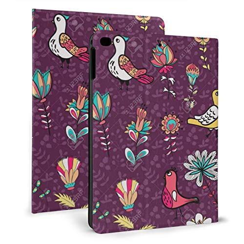Seamless Flower And Bird Endless Floral Pattern Full Color Case For Ipad Mini 4/5 7.9 Inch Cover Protective Flexible Stand Cover With Auto Sleep/Wake For Apple Ipad Tablet