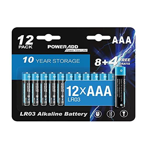 AAA Batterien, Micro Alkaline Batterien AAA 12 Stück, LR03 1,5 V, 10 Jahre Haltbarkeit für Spielzeug Taschenlampe Controller und Uhr