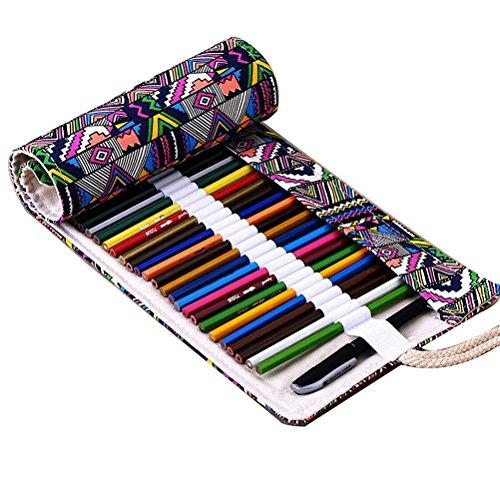 FENICAL Colored Canvas Pencil Case 72 Pencil Roll Wrap for Colored Pencils Set (72 Slots Pencil Wrap)