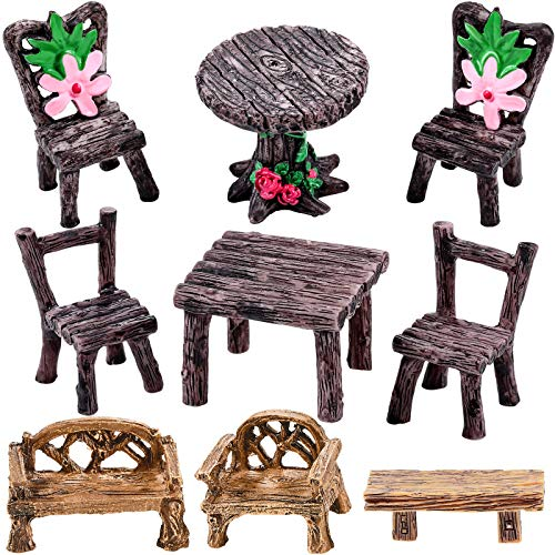 9 Pieces Miniature Table and Chairs Set Fairy Garden Furniture Ornaments Mini Decorative Resin Floral Table Chair Micro Landscape Decoration for Landscape Garden Decoration Accessories Supplies