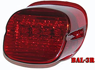 Bright Ass Lights Taillight with Multiple Strobe Patterns for Harley Davidson Models - Laydown Style with Red Lens and No License Plate Window