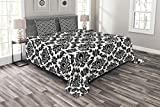 Lunarable Damask Bedspread, Damask Pattern Monochromic Classic European Venetian Style Flourishes Art, Decorative Quilted 3 Piece Coverlet Set with 2 Pillow Shams, King Size, White Black