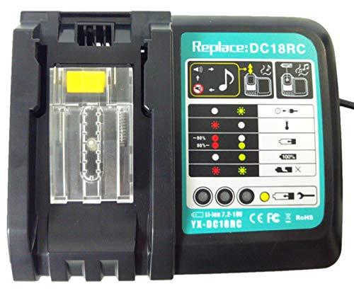 Tueddur DC18RC 18V Lithium Battery Charger for Makita 14.4V 18 Volt LXT Lithium-ion battery BL1815 BL1850 BL1840 BL1830 LXT-400 BL1820,Replace for Makita Charger DC18RD DC18RC DC18RA DC18SD DC18SF