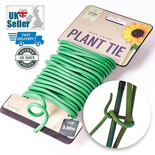 Lot de 2 5.5 m d'évolution de thym doux Twist Jardin épais Attaches pour plantes support durable et réutilisable