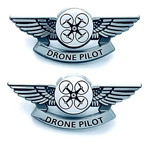 Pilot Wings Drone Pilot Pins Lot of 2 Silver