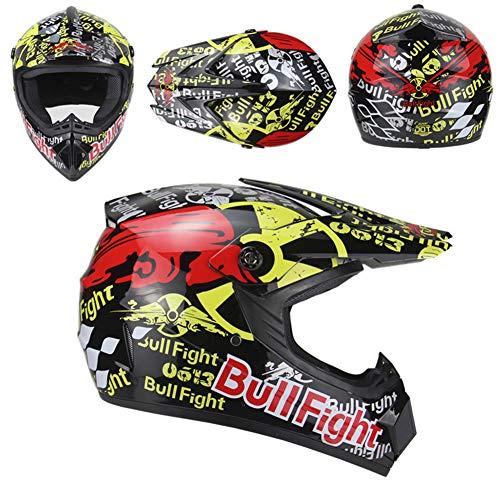 OOFAY Downhill-Motorrad-Offroad-Helme, Mountainbike-Helme, Unisex-Motorradhelme Mit Schutzbrille,Black Bullfight,S