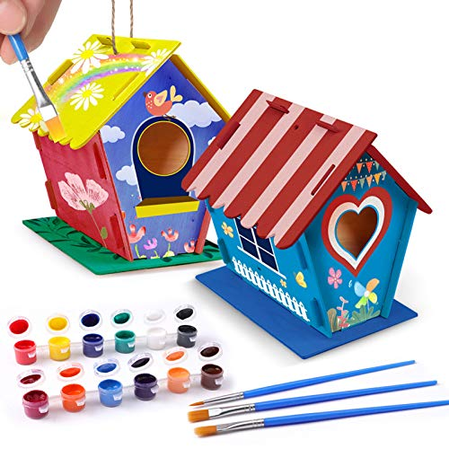 DIY Bird House, Craft kits for Kids, 2 Packs of Wooden Bird Houses with...