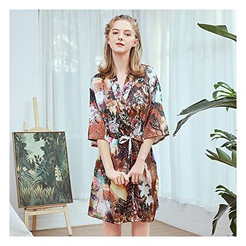 Vrouwen nachtkleding, Rayon Satin Summer Robe Kimono badtoga Print Flower Sexy Bruid van het Huwelijk Badjas Casual nachtmode (Color : Robe 6, Size : XL)