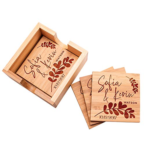 Personalized Coasters Set of 4 wHolder - Custom Bamboo Coaster for Drinks - 14 Designs - 4 x 4 - Wedding Anniversary Gifts for the Couples Bridal Shower Gifts Coaster Set with Holder