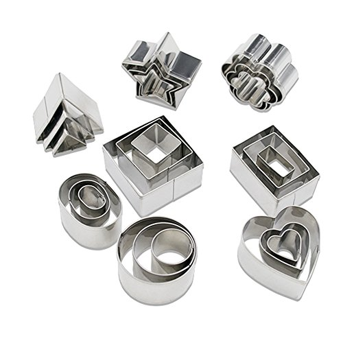 Homy Feel Stainless Steel Metal Rectangle Square Heart Triangle Round Tiny Mini Geometric Shaped Cookie Cutter Frame For Sandwiches, Freshies,...