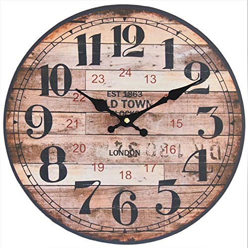 Reloj de pared perla pd design, reloj de cocina, diseño vintage, aprox. Diámetro: 28 cm, madera, Old Town London