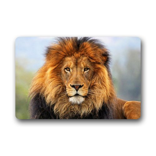 DailyLifeDepot robuuste, bedrukte deurmat met antislip onderkant, machinewasbaar, motief: leeuwenkop