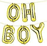 "envizins 16"" Gold ""OH BOY"" Foil Balloon Banner, Gender Reveal/Baby Shower/Photo Ornament/Party Decor"