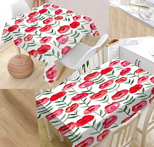 Nappe Polyester Rectangulaire Motif Floral Poussière De Jardin en Plein Air Décoratif Set De Table Une Pièce140x240cm