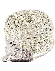 MZFANG Naturalna lina sizalowa kot drzewo lina zamiennik jutowa lina kot konopna lina 8 mm mocny sznurek gruby do rękodzieła drapanie kota zabawki dla zwierząt domowych opakowanie ogrodnictwo dekoracja ślubna
