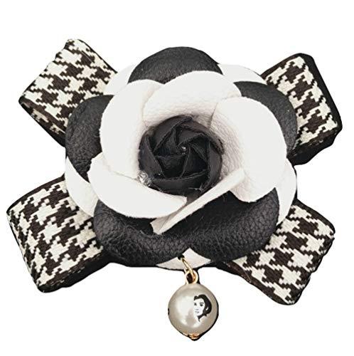 BrillaBenny Broche flor camelia perla alta joyería lujo piel blanca y negra Pin Brooch White & Black Women Jewels