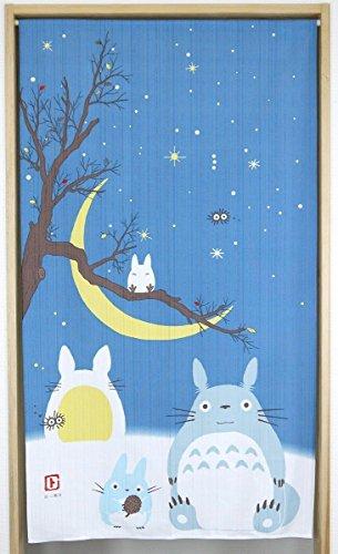 Narumikk Studio Ghibli Totoro noren (cortina japonesa) Invierno, cielo de invierno y luna de Japón 10320