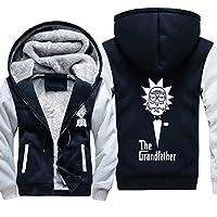 スウェットシャツトップユニセックスリックアンドモーティプリントカジュアルウィンターステッチジップウォームフード付きジャケットセーター長袖,5XL