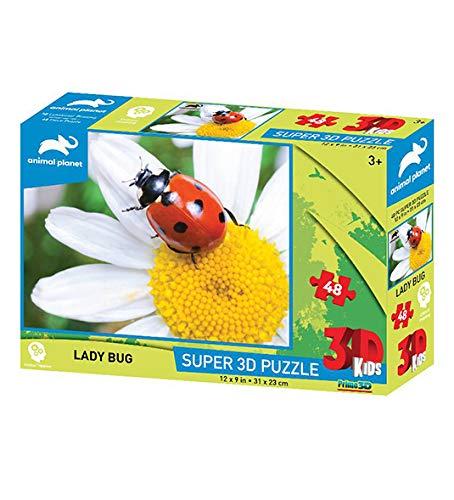 Prime 3D-PRIME-3D 3D Animal Planet: Lady Bug 48Pc Puzzle, Multicolore, 0670889106539