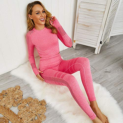 RRUI Sportswear panty & leggings voor dames set gebreid lange mouwen yoga wear naadloos bovendeel dunne katoenmix hoge taille dames kruis groen M.