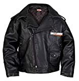 HARLEY-DAVIDSON Little Boys' Upwing Eagle Biker Pleather Jacket Blk 0376074 (3T)