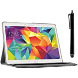 ebestStar - kompatibel mit Samsung Galaxy Tab S 10.5 Hülle SM-T800, T801 T805 Rotierend Schutzhülle Etui, Schutz Hülle Ständer, Rotating Case Cover Stand + Stift, Grau [Tab: 247.3x177.3x6.6mm, 10.5