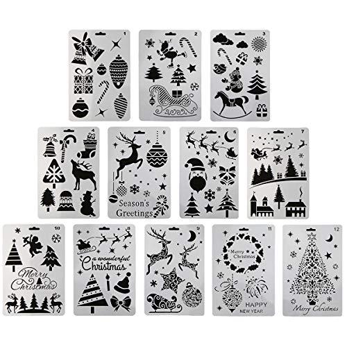 12 plantillas de pintura plástica, diseño de Papá Noel, muñeco de nieve, árbol de Navidad, alce de nieve, campana de dibujo, 25,4 x 17,8 cm, para manualidades