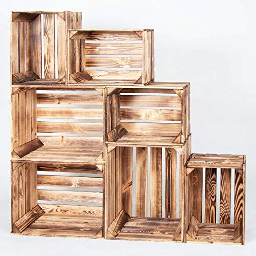 LAUBLUST 7er Set Vintage Holzkisten – Kisten in 2 Größen, 50x40x30cm / 40x30x25cm, Geflammt, Neu, Unbenutzt | Möbel-Kiste | Wein-Kiste | Obst-Kiste | Apfel-Kiste | Deko-Kiste aus Holz - 2