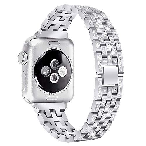 Aottom - Correa de repuesto para Apple Watch Series 5 de 40 mm de metal con diamantes de imitación de cristal con purpurina, para correa de reloj iWatch de 40 mm y 38 mm