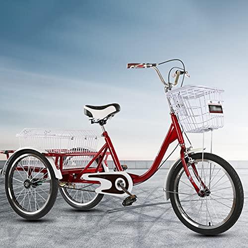 Triciclo para Adultos Bicicleta Triciclo Adulto Comfort Bicicletas Manillares Ajustables 3 Rueda Cruiser Bike 20in Bicicleta De Una Sola Velocidad con Cesta De Compras para Personas Mayor(Size:Red)