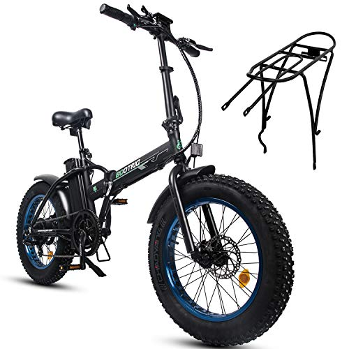 ECOTRIC Powerful Foldable Fat Tire Bike 48V 13AH Li-ion Battery 500W Motor 20' x4.0 inch Fat Tire Aluminum Frame Electric Mountain Beach Snow Electric Ebike Bicycle - Rear Rack Free for Now