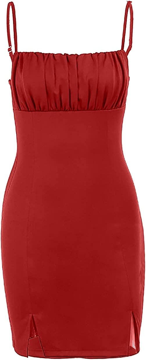 Sexy Spaghetti Strap Tank Dress Dress Ruched Mini Club Dresses Elegant Bodycon Basic Backless Dress Mini Slip Dress