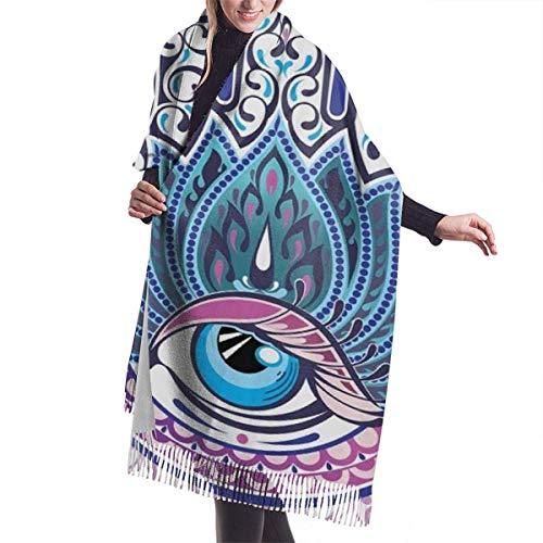 Adornos Fatima Hamsa Hand Evil Eye Bufanda de cachemira para mujeres Hombres Ligero de gran tamaño Moda suave Bufandas de invierno Fringe Chal Wraps