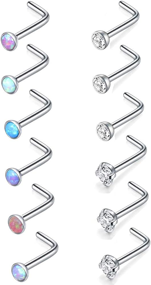 Piercingpops 12PCS 20g Tiny CZ Opal Nose Bone/L Shaped/Nose Screws Stud Stainless Steel Nose Ring Set Body Jewelry Piercing