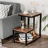 Mesita de noche de estilo industrial, mesa de sofá lateral con estante, mueble de estilo industrial multifuncional para salón, dormitorio, 35 x 60 x 60 cm