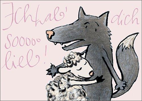Tegenheden trekken zich aan: Ik heb van je sooo lieb! De liefdeskaart voor wolf en schaap • ook voor direct verzenden met uw persoonlijke tekst als inlegger. • Fijne wenskaart met envelop voor lieve woorden