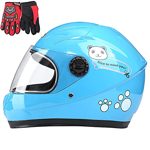 Children's Motorcycle Helmets, Children's Bicycle Helmets, Boys And Girls, Full Face Motorcycle Helmets, Outdoor Sports, Suitable for 4-10 Years Old,Blue
