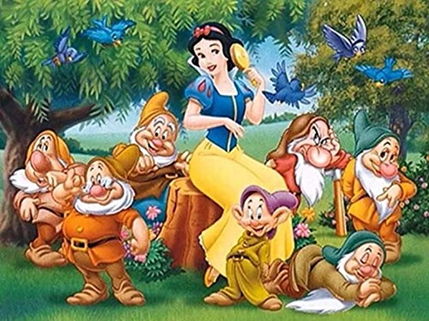 Full Drill Diamond Painting Snow White and The Seven Dwarfs,5D DIY Diamond Embroidery Crystal Rhinestone Cross Stitch Mosaic Paintings Arts Craft for Home Wall Decor (28X20inch/70X50cm)
