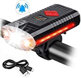 MOSFiATA USB Rechargeable Bike Light with Bell, 4 Buttons with 9 Modes, 3 LED 1000 Lumen Super Bright Bicycle Light with 1200 mAh Lithium, IPX4 Waterproof LED Front Headlight for Cycling Safety