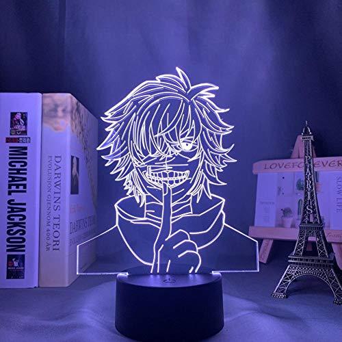 LUOXIA - Luce notturna 3D con illusione 3D, lampada Tokyo Ghoul 3D, luce notturna per bambini, decorazione manga Cool Birthday Gift Tokyo Ghoul LED lampada da tavolo 7 colori touch LUOXIA