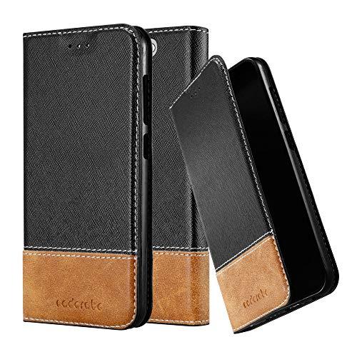 Cadorabo Hülle für HTC One A9 - Hülle in SCHWARZ BRAUN – Handyhülle mit Standfunktion & Kartenfach aus Einer Kunstlederkombi - Hülle Cover Schutzhülle Etui Tasche Book