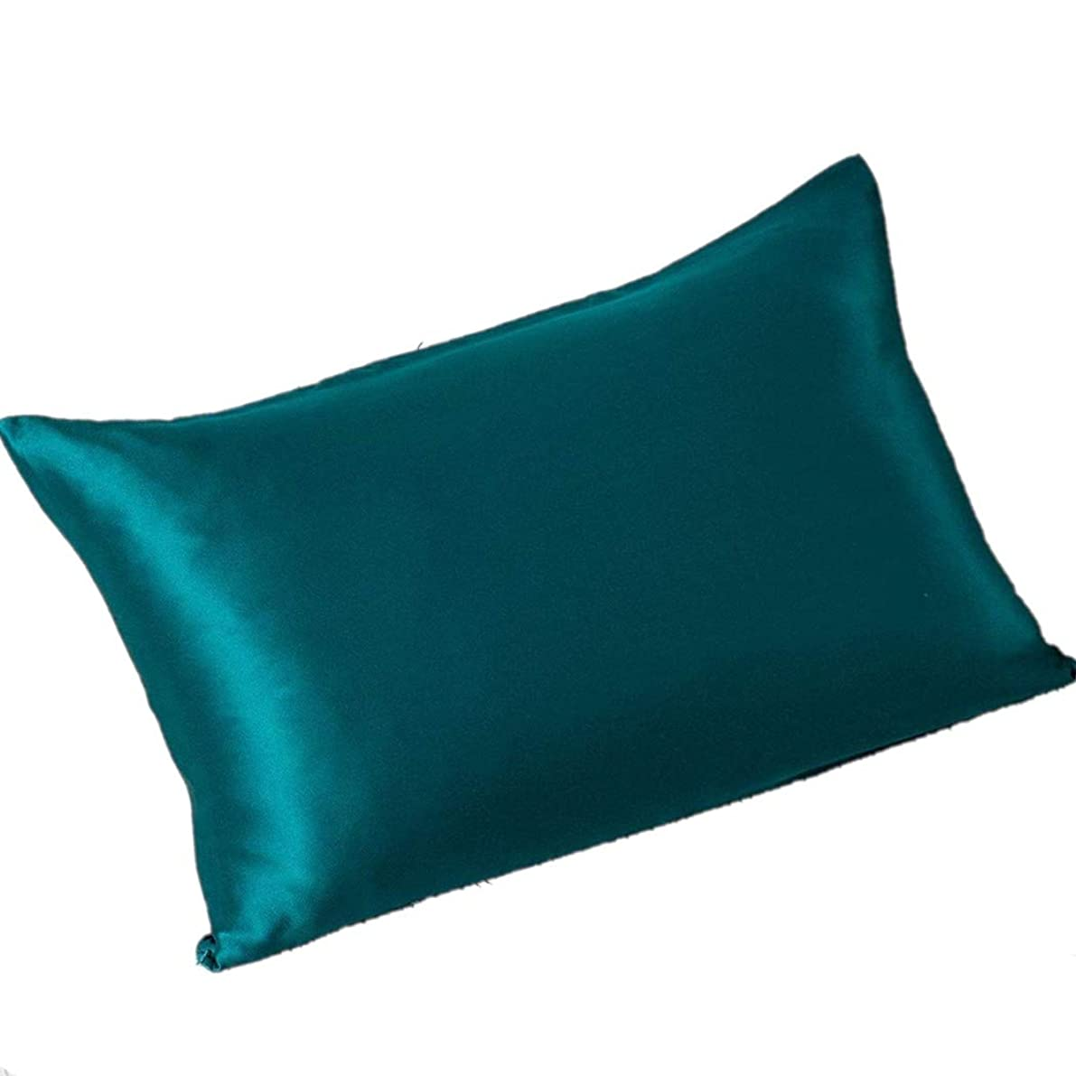 CrazyGo 100% Mulberry Silk Pillowcase for Hair and Skin Both Sides Slip Silk,19 Momme, 600 Thread Count with Hidden Zipper, Standard Size,1pc (Peacock Blue 2, Standard (20
