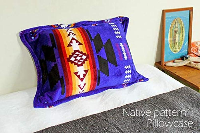 探偵冷える翻訳者RUG&PIECE ネイティブ柄 枕カバー ピローケース ベロア調 Native pattern Pillowcase 48cm×76cm (rug-6466)
