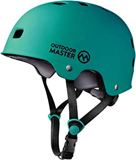 OutdoorMaster Skateboard Helmet - CPSC Certified Lightweight, Low-Profile Skate & Freestyle BMX Helmet with Removable Lining - 12 Vents Ventilation System - for Kids, Youth & Adults