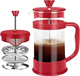 KICHLY - 8 tazas (1 litro / 1000 ml) Cafetera Francesa espresso y tetera con triple filtro émbolo...