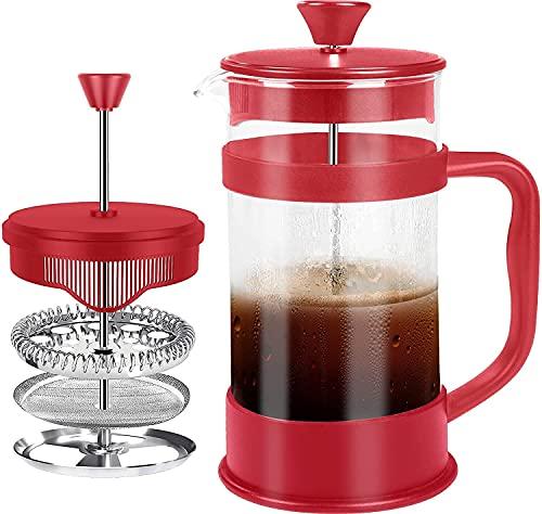 KICHLY - 8 tazas (1 litro / 1000 ml) Cafetera Francesa espresso y tetera con triple filtro émbolo de acero inoxidable (Rojo)