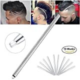 Hair Tattoo Trim Razor Pen, for Hair Design Face Shaping, Engraved Pen/ 10 Blades/Tweezer, Eyebrows Beards Razor Styling Tool